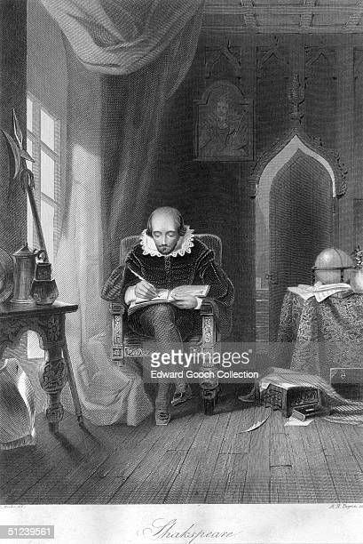 Circa 1610 English poet and dramatist William Shakespeare at work in his study Original Artist By A H Payne
