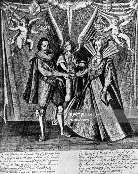 Circa 1625 The marriage of the King Charles I of Great Britain and Princess Henrietta Maria of France who became queen consort Original Artwork...