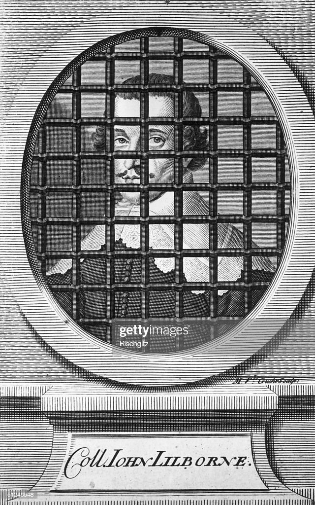 Circa 1640, An engraved depiction of an imprisoned Colonel John Lilburne (1614 - 1657), political agitator and leader of the Levellers, an organisation which proposed several political reforms during the English Civil War. Original Artwork: Engraving by: M Van Der Gu