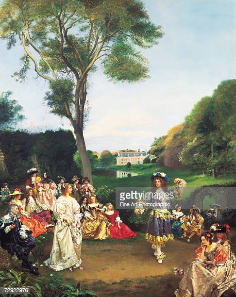 French nobility dancing in the grounds of the Chateau de Kerdrel de Champagny Artist Gustave Jean Jacquet