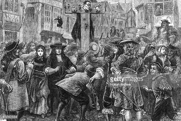 Circa 1685, English perjurer Doctor Titus Oates in the pillory at the Temple gate for his involvement in the Popish Plot. His false confession led to...