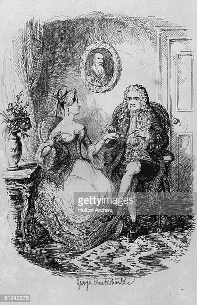 Circa 1690 English mathematician and physicist Sir Isaac Newton in the company of a young woman Although this satirical caricture is entitled 'Sir...