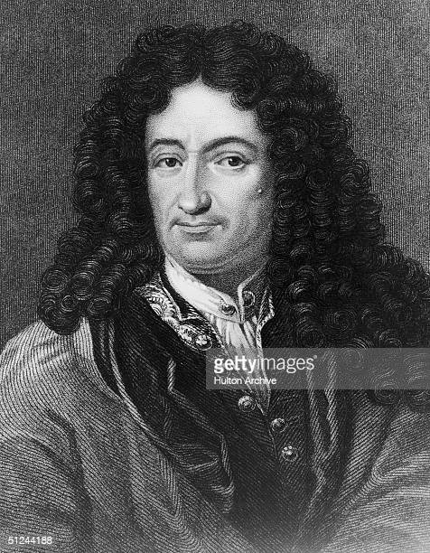 Circa 1701, An engraving of Gottfried Wilhelm von Leibniz German mathematician, philosopher and historian.
