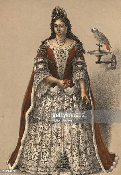Circa 1702, Frances Teresa Richmond Duchess of Richmond and 3rd wife of Charles Stuart, in the clothes she wore to the coronation of Queen Anne, and...