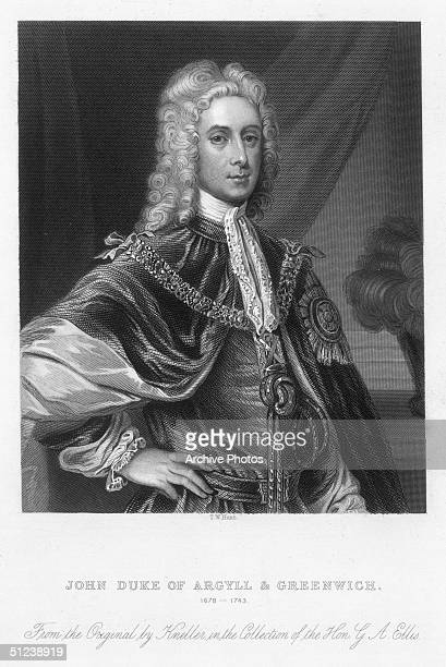 Circa 1730, Portrait of John Campbell . 2nd Duke of Argyll, Scottish soldier, promoted the Act of Union, served under Marlborough at Oudenarde...