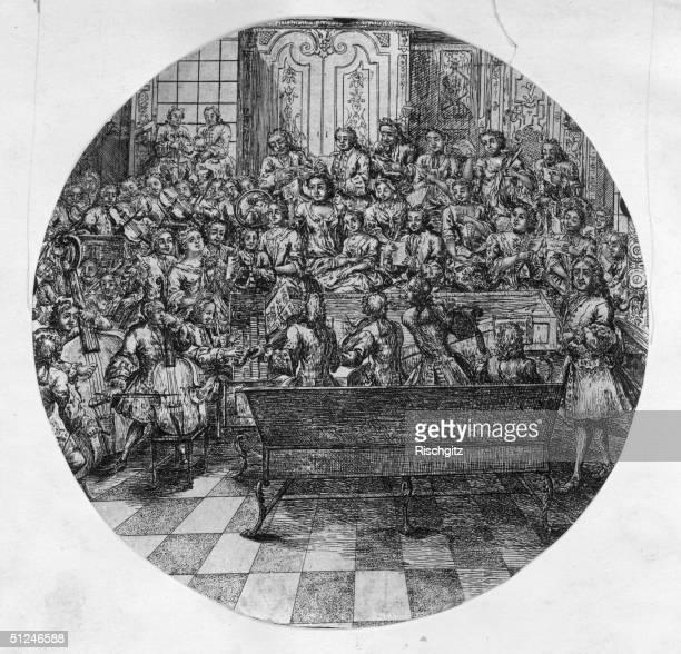 Circa 1740, German composer George Frederick Handel conducting an oratorio. Original Artwork: British Museum - Select English Prints - case 2 - vol3