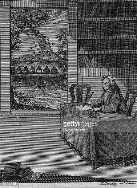 Circa 1743 John Thorley the author of 'the Female Monarchy' an 18th century beekeeper's manual at his desk This was used as the frontispiece of the...