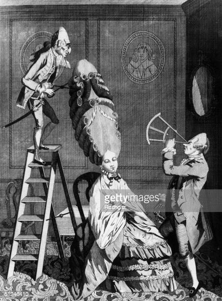 Circa 1750 A satirical take on the 18th century penchant for elaborate hairstyles One man uses a sextant to measure the colossal creation