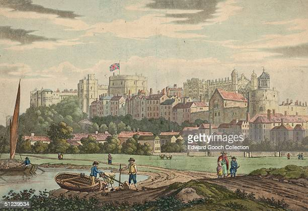 Circa 1750, A Union Jack flies over Windsor Castle in Berkshire, signifying that the sovereign is in residence.