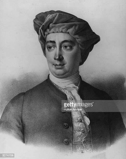 David Hume the Scottish philosopher and historian Lithograph Villain after Maurins after a painting by Allan Ramsay