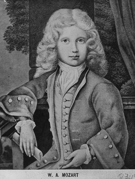 Austrian composer Wolfgang Amadeus Mozart at the age...