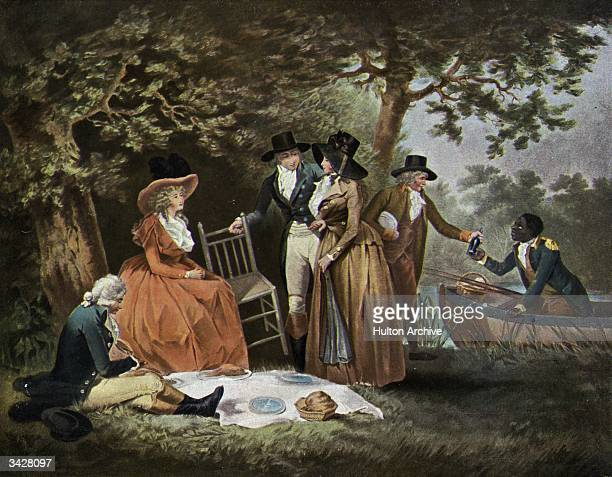 A group of society ladies and gentlemen embark on a picnic by a river aided by a black servant
