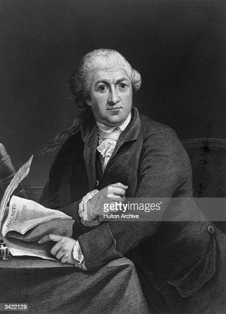 British actor and theatre manager David Garrick holding a copy of 'Macbeth' He was credited with the revival of Shakespeare's texts Original...