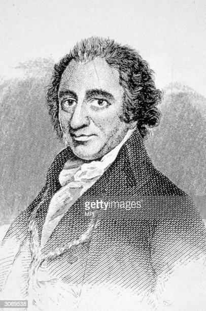 English born radical writer and thinker Thomas Paine whose pamphlet 'Common Sense' greatly influenced american opinion in favour of independence with...