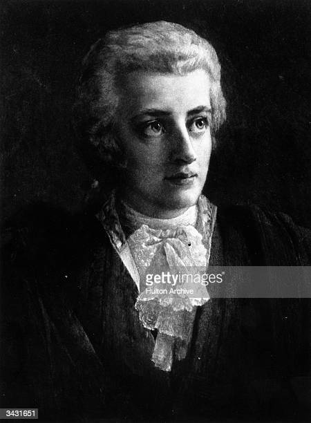Wolfgang Amadeus Mozart , one of the most important composers in the Western musical tradition. Original Artwork: Engraving after painting by Lorenz...