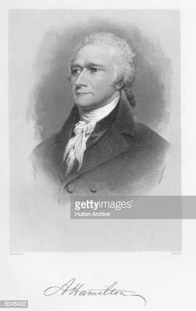 Portrait of American statesman Alexander Hamilton . Continental soldier, 1775-83, secretary to Gen. Washington, 1777-81, member Continental Congress,...