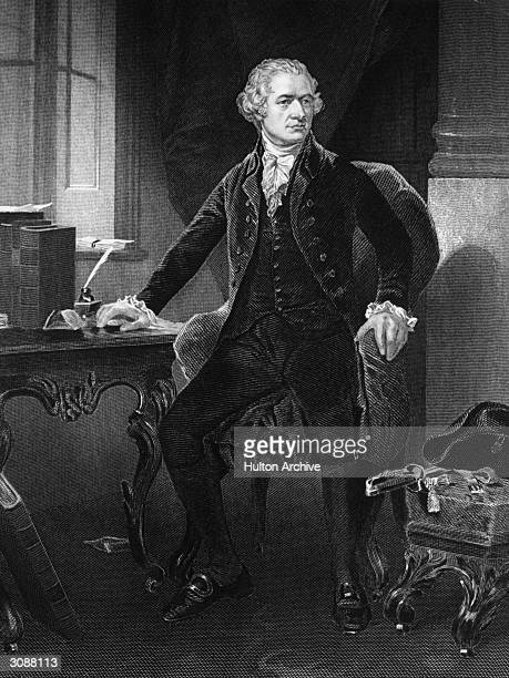 American statesman Alexander Hamilton , principal author of 'The Federalist' collection of writings. An engraving after the original painting by...