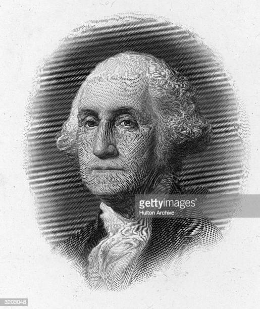 Headshot portrait of George Washington , American Revolutionary War general and the first President of the United States. The Virginian served as...