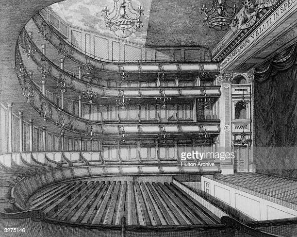 The Interior of the Theatre Royal in Drury Lane, Covent Garden, London, as altered previous to the opening on 15th September 1794. It was destroyed...