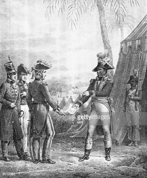 Lithograph of Haitian general Francois Dominique Toussaint L'Ouverture , whose heroic stand against French rule thwarted Napoleon's ambition for a...