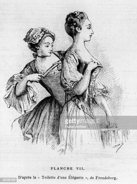 A young maid laces her mistress's fashionable corset An engraving by Ernest Leoty from the 'Toilette d'Une Elegante' by Freudeberg