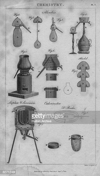 Alembics and a calorimeter designed by Laplace and Lavoisier