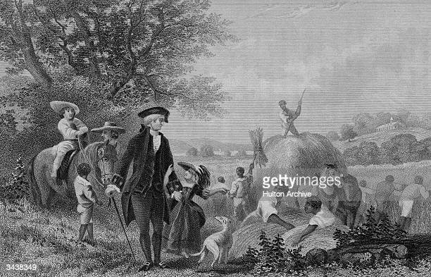 American president George Washington watches over a group of black slaves working in a field at Mount Vernon