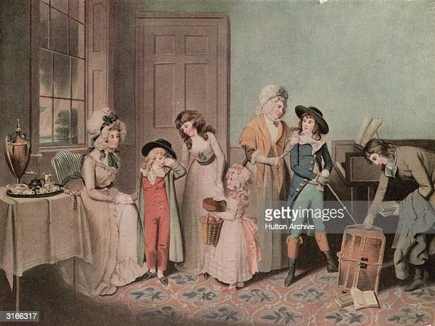 'Black Monday or The Departure For School' Two young boys bid their family a tearful farewell upon leaving for school Original Artwork After W R Biggs