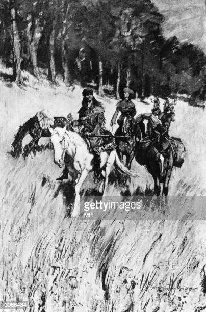 Early pioneers on the Blue Ridge Mountains in Kentucky FH Wellington after Frederic Remington