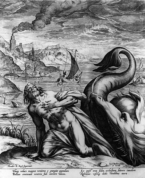 The prophet Jonah emerges from the whale.