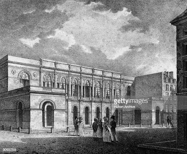 The Royal Academy of Music in Paris, later the Paris Opera. Original Artwork: Lithograph by Delpech.
