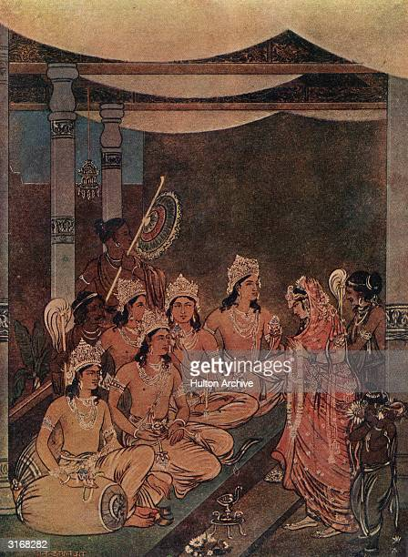 The Swetambara or Shvetambara a major sect of the Jains Two women pay their respects to a group of men in elaborate headdresses Original Artist By...