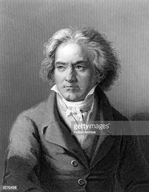 German composer and pianist Ludwig van Beethoven . Original Artwork: Engraving after painting by Kloeber