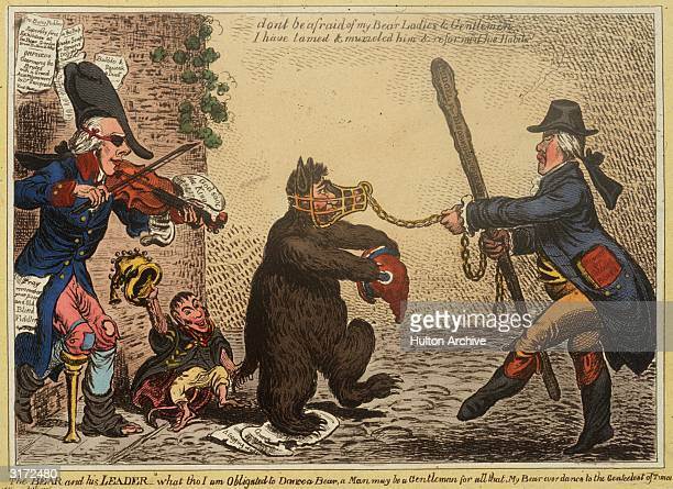 Henry Addington, Viscount Sidmouth provides the music for British statesman William Wyndham Grenville and his dancing bear, Charles James Fox ....
