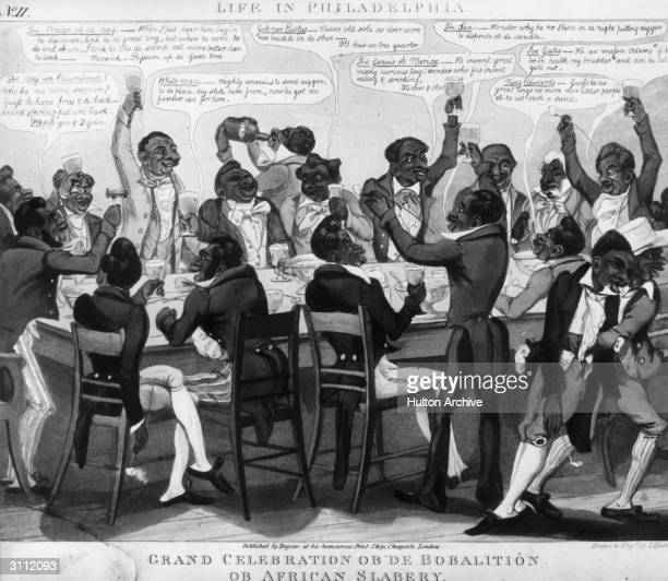 A group of black Americans from Philadelphia celebrating the abolition of slavery with a feast Published by 'Tregear at his humourist print shop...