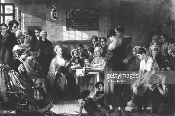English Quaker prison reformer Elizabeth Fry , reading the bible to a group of prisoners at Newgate Prison. Original Artwork: After J Barnett.