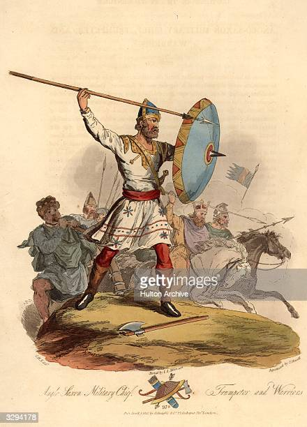 An Anglo Saxon warrior chief with trumpeter and warriors about to enter battle