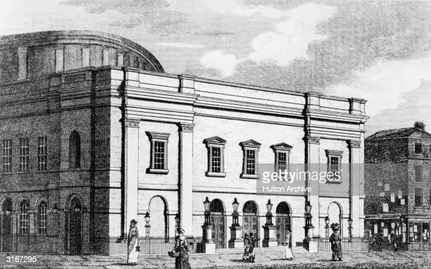 The Theatre Royal Drury Lane, designed by architect Benjamin Wyatt, which opened on 10th October 1812. Original Artwork: Engraved by Lacery from an...