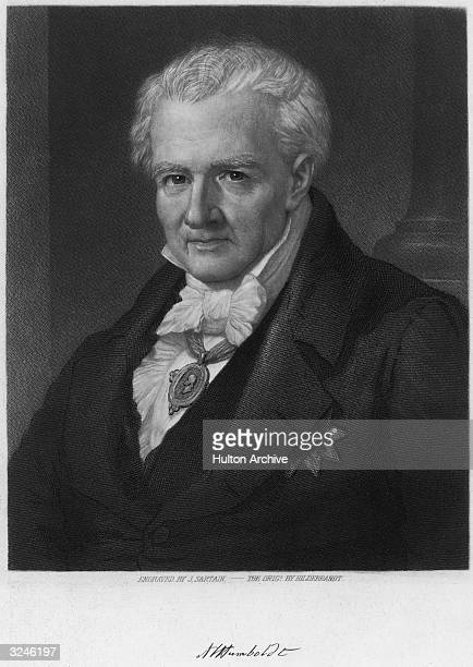 Baron Alexander von Humboldt German geographer and explorer from 17991804 of areas in South America with Aime Bonpland compiling maps and records of...