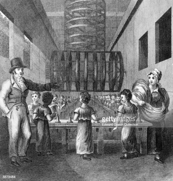 Child labour in a mill during the industrial revolution.