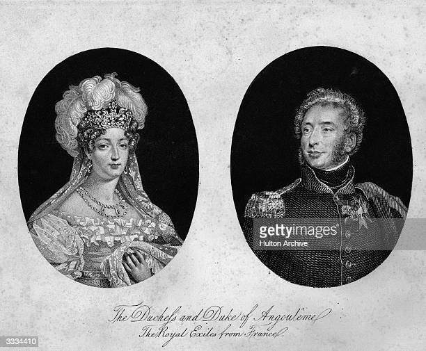 Marie Therese Charlotte, Duchess of Angouleme , daughter of King Louis XVI, and her husband French soldier Louis Antoine de Bourbon, Duke of...
