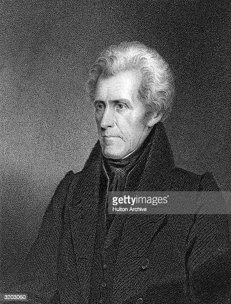 Portrait of Andrew Jackson , seventh President of the United States, who served for two terms from 1829 to 1837. The self-taught lawyer, known as...