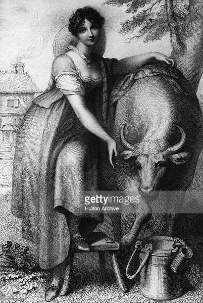 Susan Stewart, wife of the 5th Duke of Marlborough, standing next to a cow with a milking pail. Original Artwork: Engraved by Agar after Cosway