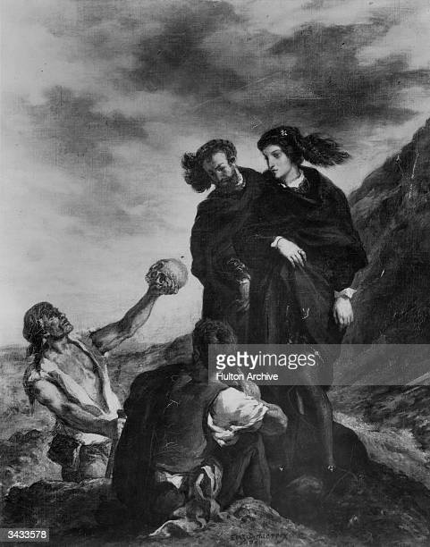 The discovery of Yorick's skull by gravediggers, in a scene from the play 'Hamlet', by William Shakespeare. Original Artwork: Engraved after a...