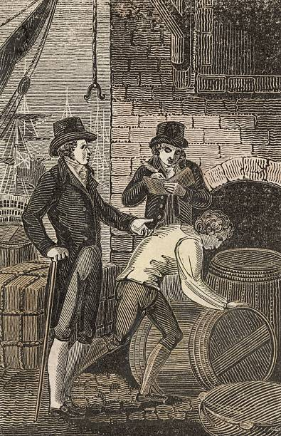 A wine merchant supervising the unloading of barrels...