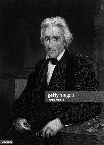 Andrew Jackson 7th President of the USA. Known as 'Old Hickory'. Daguerreotype taken from life. Engraving by Alonzo Chappel