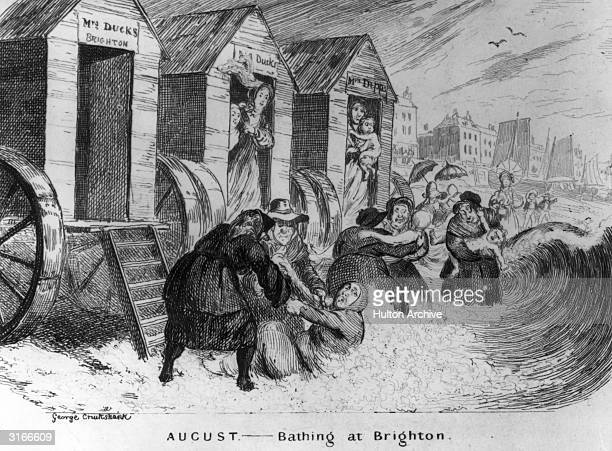 Holiday makers at Brighton Beach use the mobile changing rooms to cross Brighton Beach and reach the sea. Original Artwork: Engraved by George...