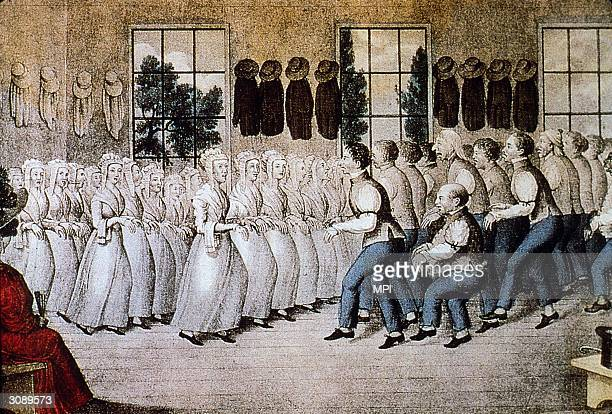 Shakers a Quaker sect performing their distinctive trembling religious dance Original Artists Currier and Ives