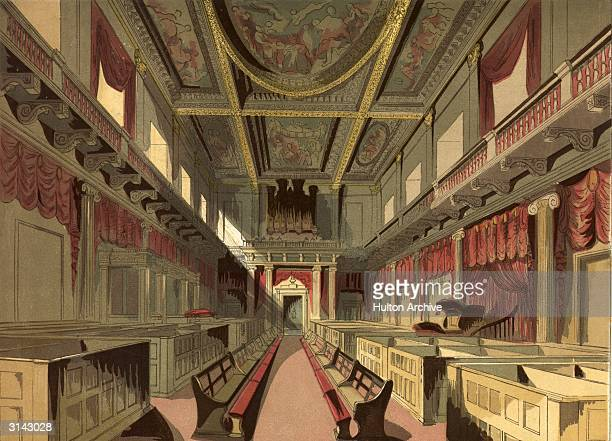 The interior of the Royal Chapel, Whitehall, looking north, following restoration work by architects Sir John Soane and Sir Robert Smirke . In 1837...