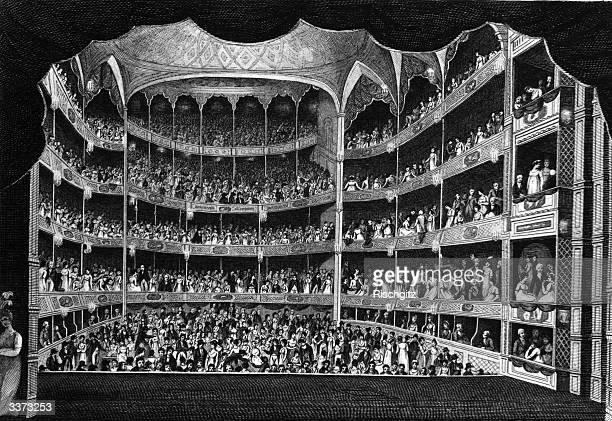 An engraving of Drury Lane Theatre from the stage during the performance.